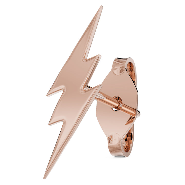 Rose Gold Lightning Bolt 14k Gold Stud Earring