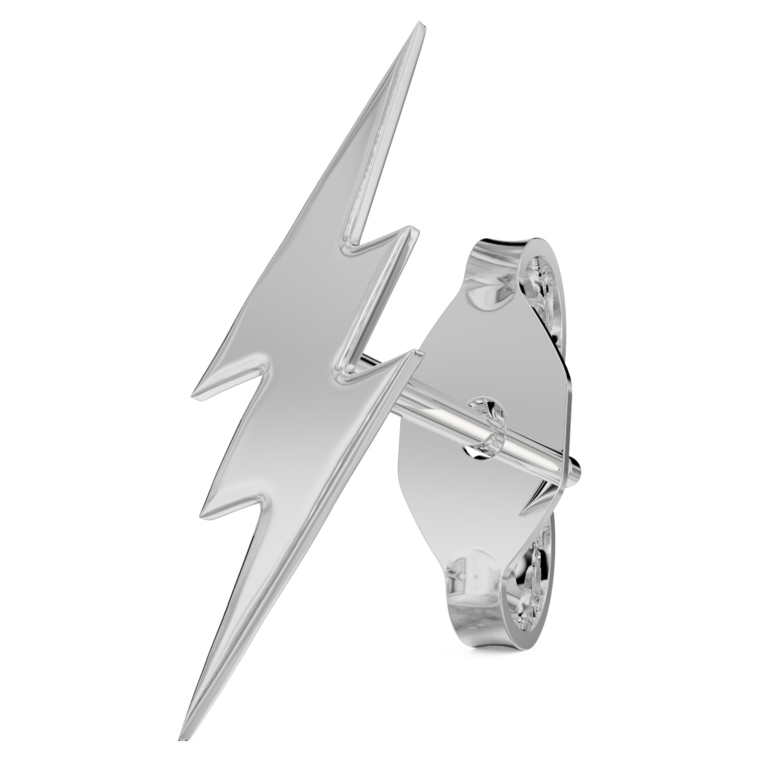 White Gold Lightning Bolt 14k Gold Stud Earring