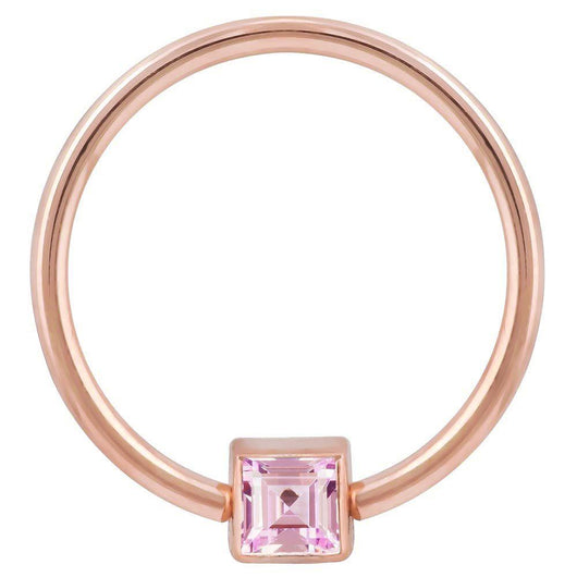 Rose Gold Pink Cubic Zirconia Princess Cut 14k Gold Captive Bead Ring
