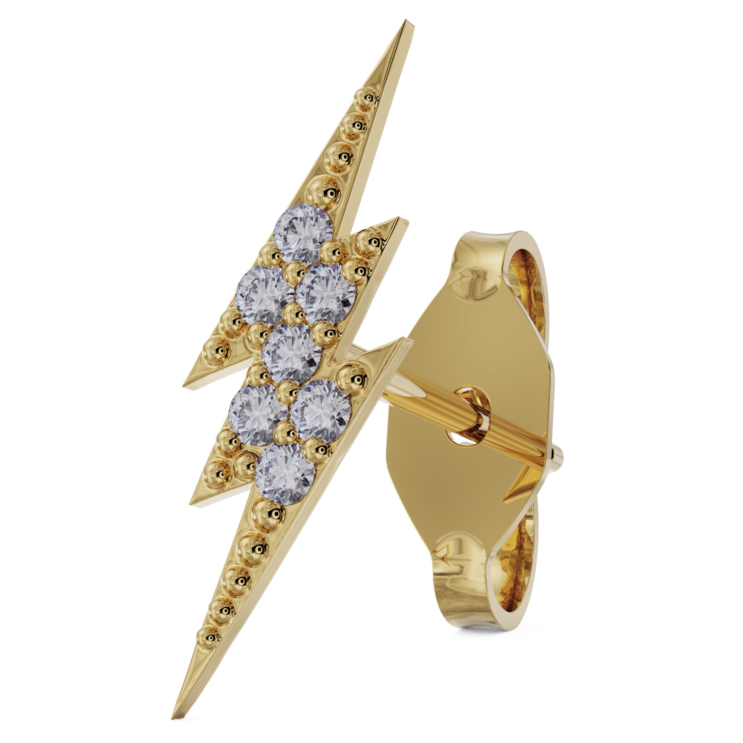 Diamond Pave Lightning Bolt 14k Gold Stud Earring