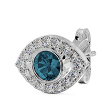 White Gold - Evil Eye Diamond & Blue Topaz 14k Gold Stud Earring
