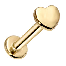 Heart Artisan Polished 14K Gold Labret Tragus Nose Cartilage Flat Back Earring