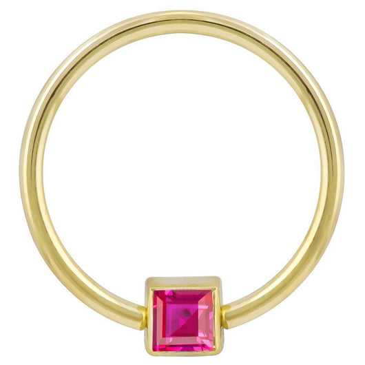 Yellow Gold Red Cubic Zirconia Princess Cut 14k Gold Captive Bead Ring