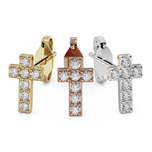 All gold colors Diamond Cross 14k Gold Stud Earring