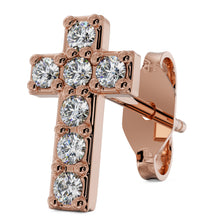 Rose Gold Diamond Cross 14k Gold Stud Earring