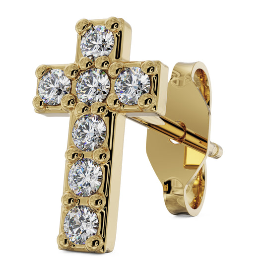 Yellow Gold Diamond Cross 14k Gold Stud Earring