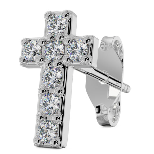 White Gold Diamond Cross 14k Gold Stud Earring