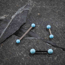 Simulated Turquoise 14K Gold Straight Barbell Nipple Tongue Ring
