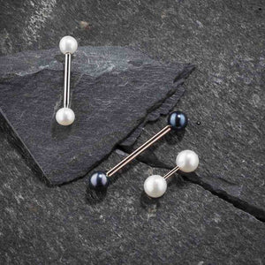 Cultured Peacock Pearl 14K Gold Straight Barbell Nipple Tongue Ring
