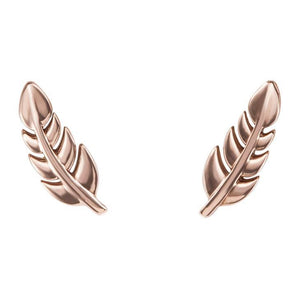 Leaf Feather 14k Gold Earrings