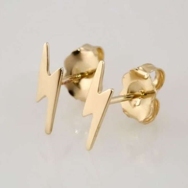 Lightning Bolt 14K Gold Earrings
