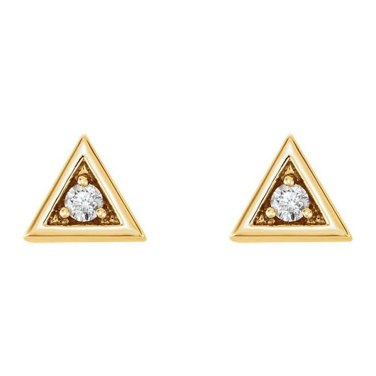 Triangle with Diamond 14K Gold Earrings