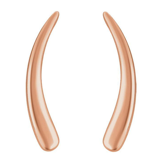 Curved 14K Gold Ear Climber Earrings