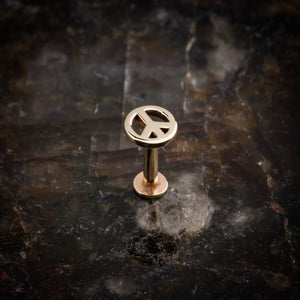 Peace Sign 14K Gold Labret Lip Tragus Threaded Stud Earring
