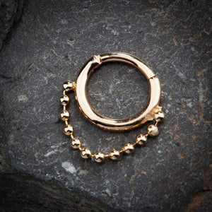 Beaded Chain 14K Gold Hinged Segment Clicker Ring
