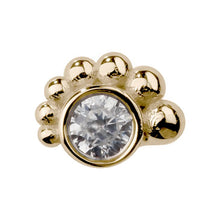 Cubic Zirconia Bead Cluster Internal 14K Gold Stud Cartilage Earring
