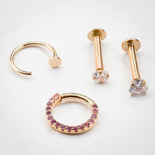 Purple CZ Pave 14K Gold Hinged Segment Clicker Ring