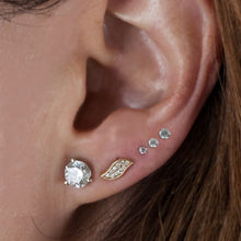 Tiny Diamond Prong-Set Stud 14K Gold Earring