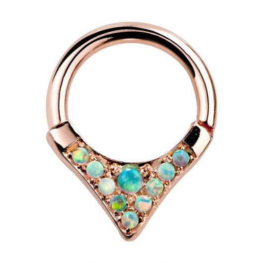 Tribal V-Shape Opal Solid 14K Gold Hinged Clicker Ring
