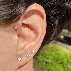 Tiny Diamond Bezel-Set Stud 14K Gold Earring