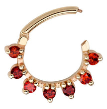 Garnet Petal 14K Gold Clicker Ring