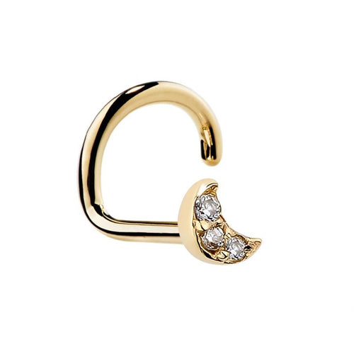 Tiny Diamond Pave Crescent Moon 14K Gold Nose Ring