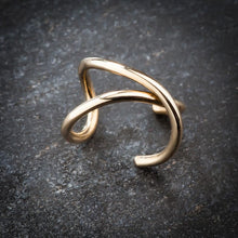 Criss Cross X Band 14k Gold Ear Cuff
