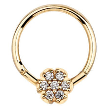 Diamond Pave Flower 14K Gold Hinged Clicker Ring