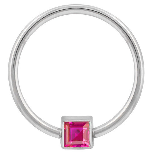 White Gold Red Cubic Zirconia Princess Cut 14k Gold Captive Bead Ring