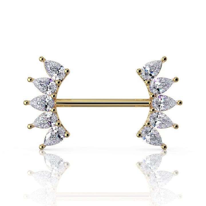 Yellow Gold - White Sapphire 10 Pears Crescent 14k Gold Barbell Nipple Ring
