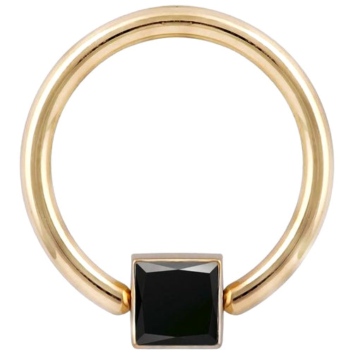 Black Diamond Princess Side Mount Bezel 14K Gold Captive Bead Ring