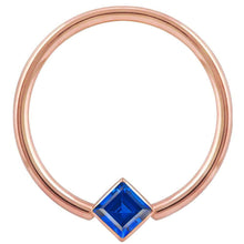 Rose Gold Blue Cubic Zirconia Princess Cut Corner Mount 14k Gold Captive Bead Ring