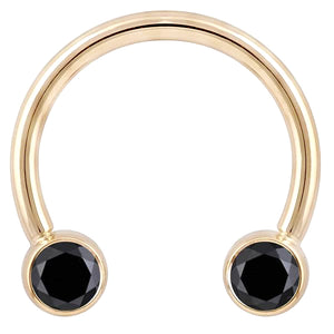 Black Diamond Round Bezel 14K Gold Circular Barbell