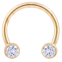 Diamond Round Bezel 14K Gold Circular Barbell