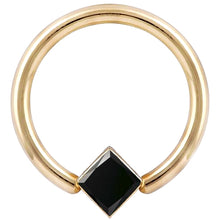 Black Diamond Princess Corner Mount 14K Gold Captive Bead Ring