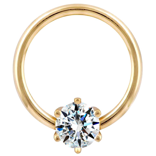 Diamond Round Prong 14K Gold Captive Bead Ring