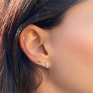 Ear Model Lightning Bolt 14k Gold Flat Back Stud