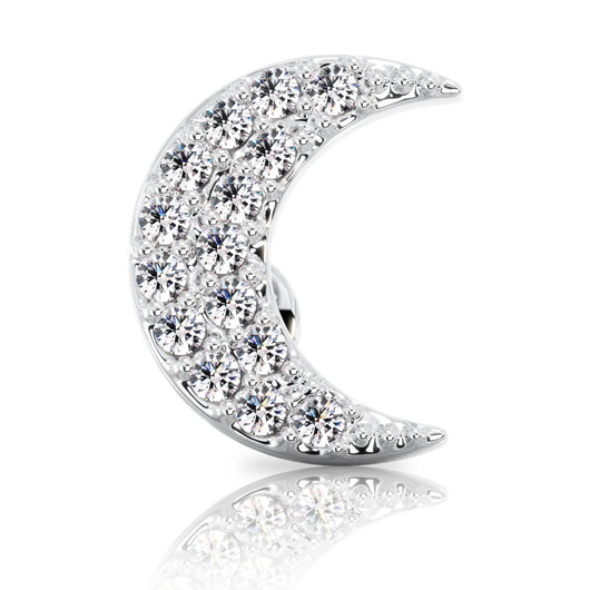 Diamond Moon Cartilage Earring Lip Tragus Nose Flat Back Stud