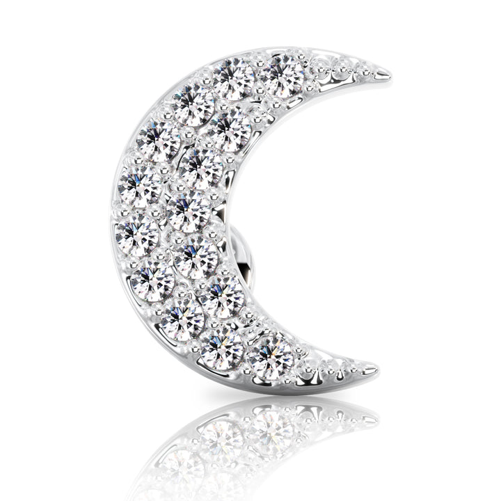 Diamond Moon 14k Gold Stud Earring