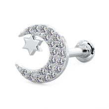 Diamond Moon with Star Cartilage Earring Lip Tragus Nose Flat Back Stud