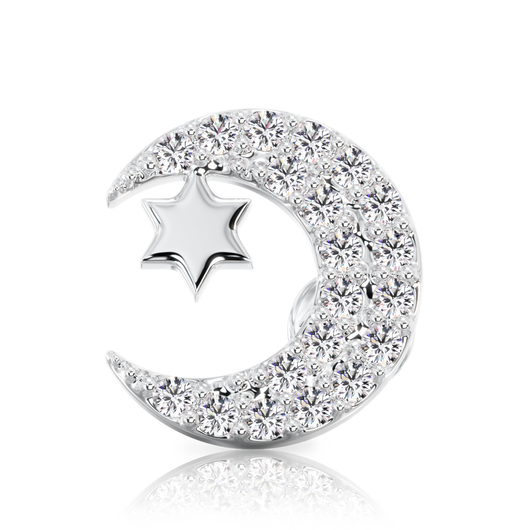 Diamond Moon with Star 14k Gold Stud Earring
