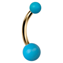 Genuine Turquoise Double Ball 14k Gold Belly Button Ring