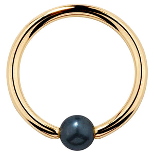 Cultured Peacock Pearl 14K Gold Captive Bead Ring