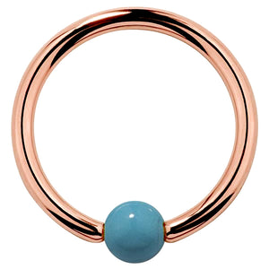 Faux Turquoise 14K Gold Captive Bead Ring
