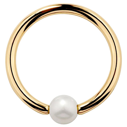Cultured Pearl 14K Gold Captive Bead Ring