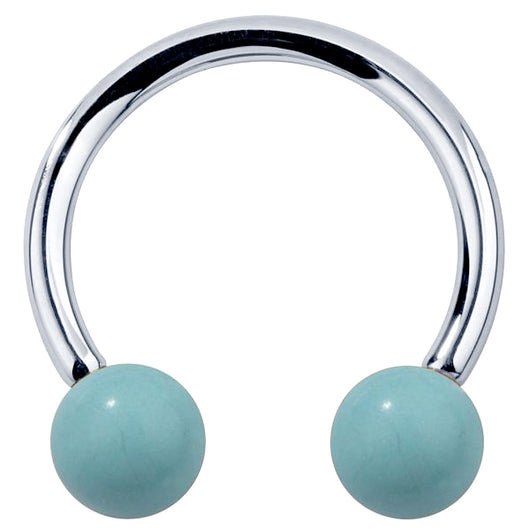 Faux Turquoise 14K Gold Circular Barbell