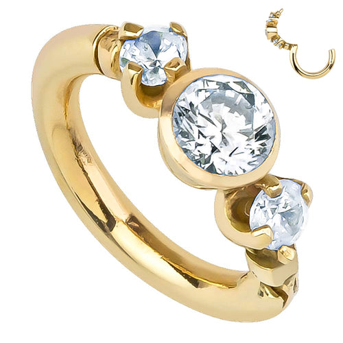 Tiny Engagement Ring 14K Gold Hinged Clicker Ring