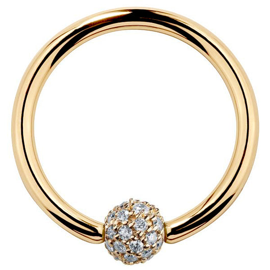 4mm Diamond Pave Ball 14K Gold Captive Bead Ring