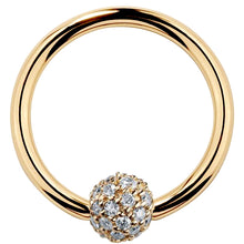 5mm Diamond Pave Ball 14K Gold Captive Bead Ring