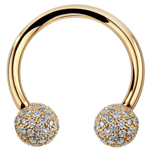 4mm Diamond Pave Balls 14K Gold Circular Barbell